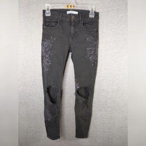 Zara Basic Z1975 Denim- Ripped Floral Jeans